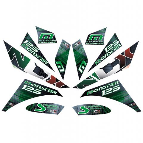 KIT GRAFICHE NCX MONSTER STRIPES VERDE IN PVC 55 micron