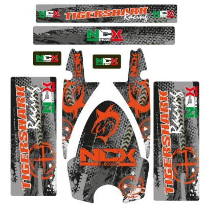 KIT GRAFICHE NCX TIGERSHARK RACING ARANCIO IN PVC 55 micron